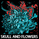 Skull And Flowers T-shirt Design - GraphicRiver Item for Sale