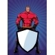 Superhero Holding Shield Ray Light Vertical