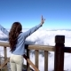 Woman Raising Hands, Looking on Landscape on Fansipan Mountain in Sapa, Vietnam - VideoHive Item for Sale
