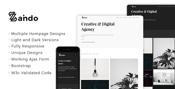 Image of Zando - Creative Minimal Portfolio Landing Page