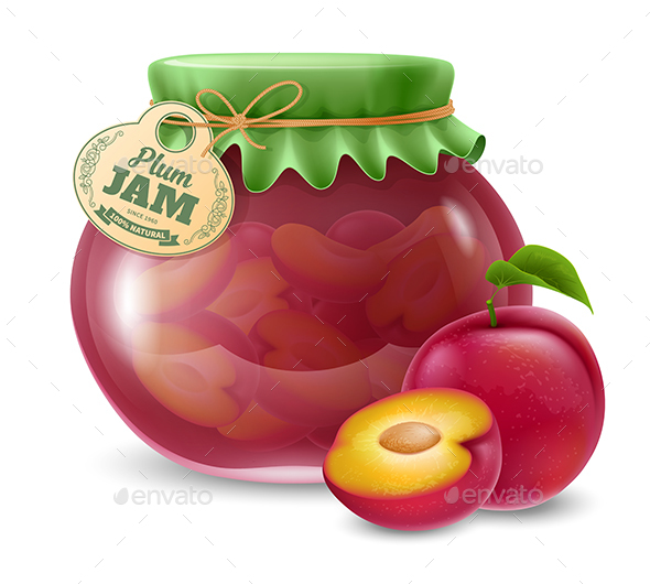Plum Jam in a Glass Jar - Food Objects