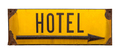 Isolated Rustic Metal Hotel Sign