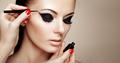 Makeup artist applies eyeshadow