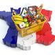Market basket or consumer price index in France. Shopping basket - PhotoDune Item for Sale