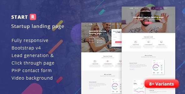 Startr - Multipurpose Startup Landing Page - Landing Pages Marketing
