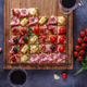 Tasty Italian appetizers, or bruschetta, slices of toasted baguette topped with ham, prosciutto - PhotoDune Item for Sale