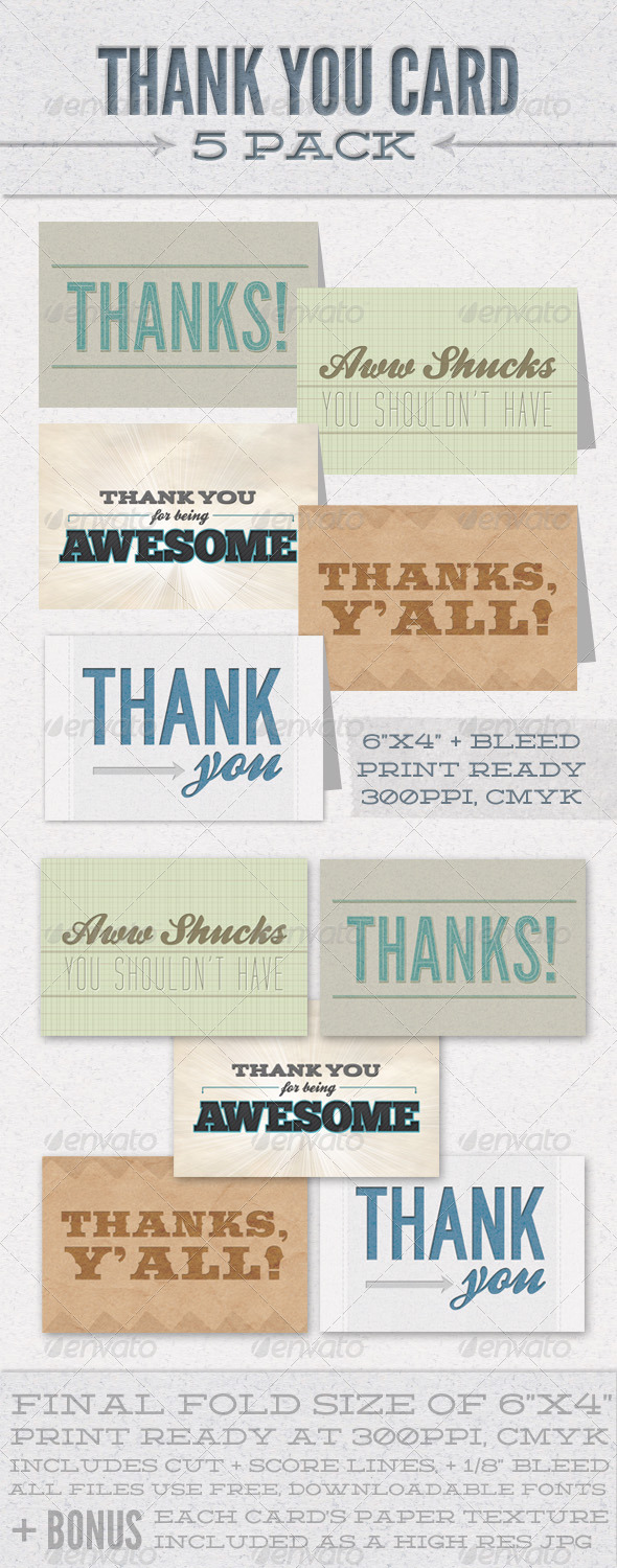 Thank You Card 5 Pack - Cards & Invites Print Templates
