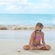 Adorable Active Little Girl on a Snow-white Sandy Beach - VideoHive Item for Sale