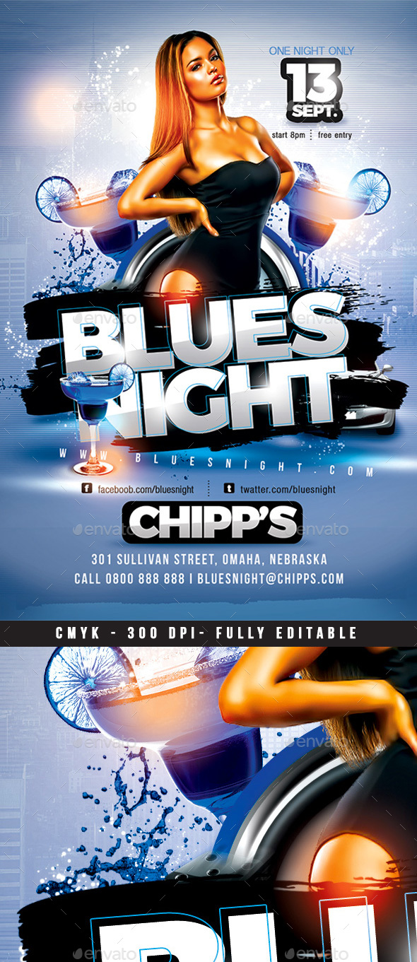 Blues Night Flyer - Clubs & Parties Events