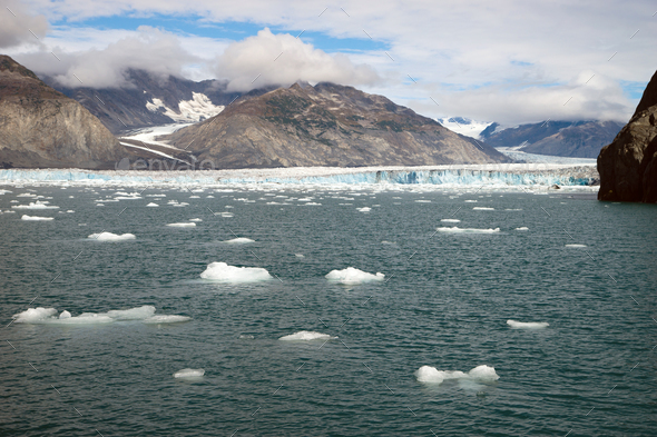 Waters Directly in Front of the a Glacier Kenai Fjords AK - Stock Photo - Images