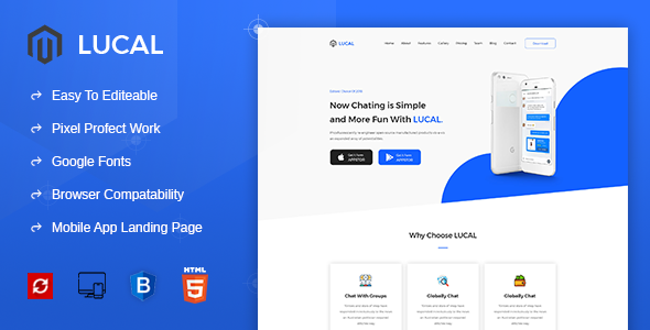 Lucal - Mobile App Landing HTML Template - Technology Site Templates
