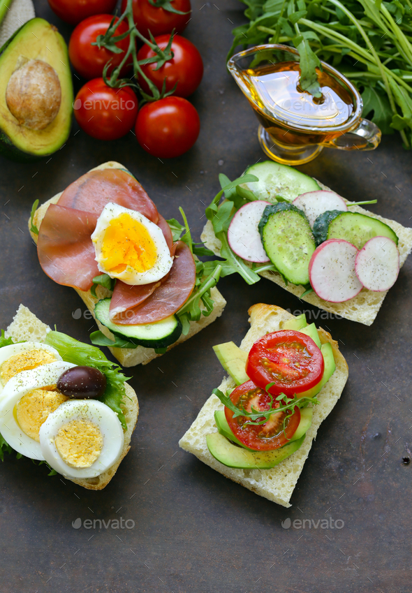 Sandwiches with Different Fillings - Stock Photo - Images