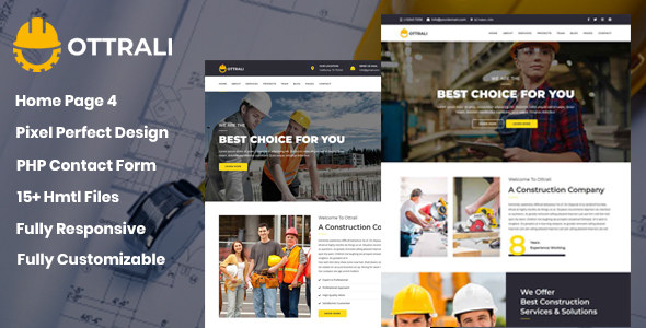 Ottrali - Construction Business Template - Site Templates