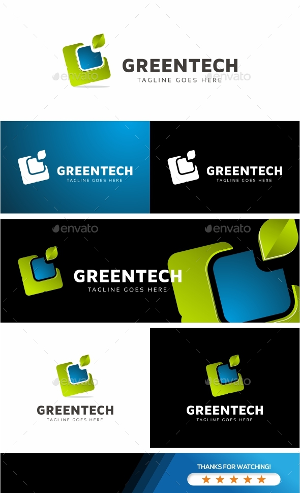 Green Leaf - Tech Logo Template - Symbols Logo Templates
