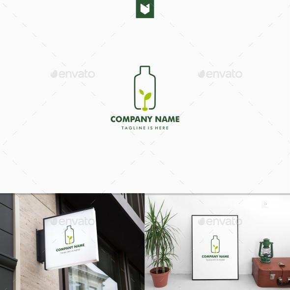 Plastic Bottle Seed Leaf Green Logo - Nature Logo Templates