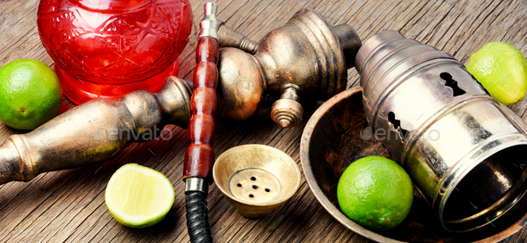 Oriental hookah shisha with lime - Stock Photo - Images