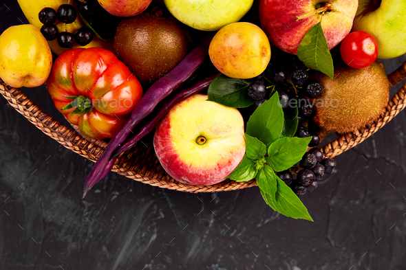 Healthy colorful food selection  in basket - Stock Photo - Images