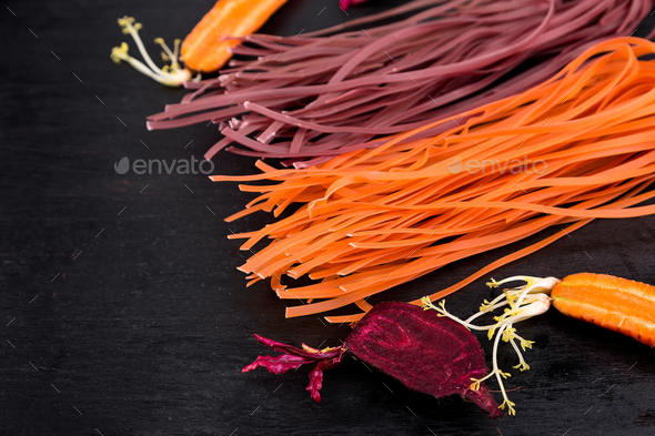 Colored Raw Vegetable Vegetarian Pasta - Stock Photo - Images