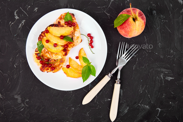Cottage cheese pancakes - Stock Photo - Images