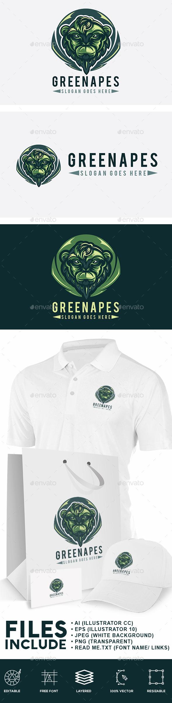 Green Monkey Logo - Animals Logo Templates