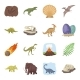 Different Dinosaurs Cartoon Icons in Set