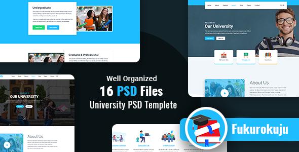 Fukurokuju - University PSD Template - Corporate PSD Templates