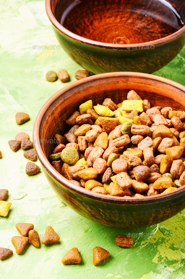 Pet food in bowl - Stock Photo - Images
