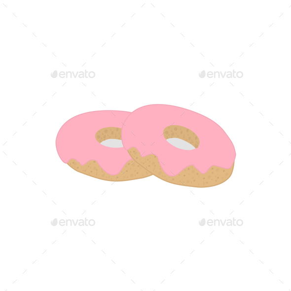 Two doughnuts with pink icing, vector - Stock Photo - Images