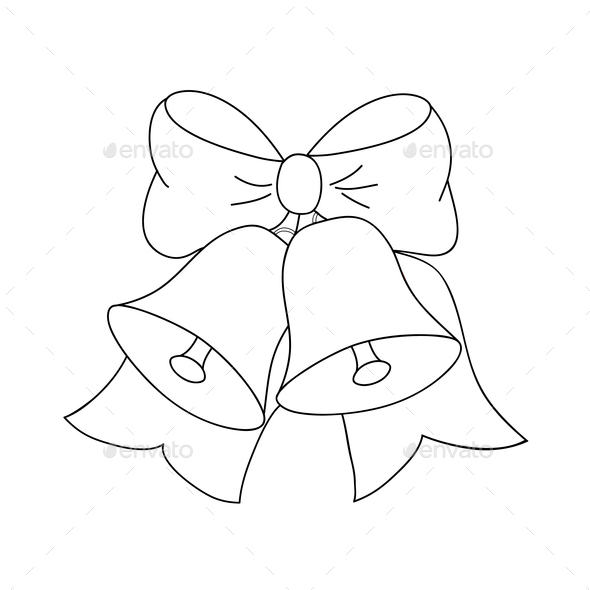 Christmas jingle bells with bow, black and white colors, vector - Stock Photo - Images