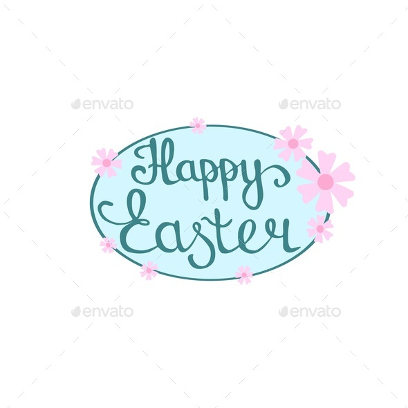 Happy Easter hand lettering in oval frame with flower decoration, vector - Stock Photo - Images