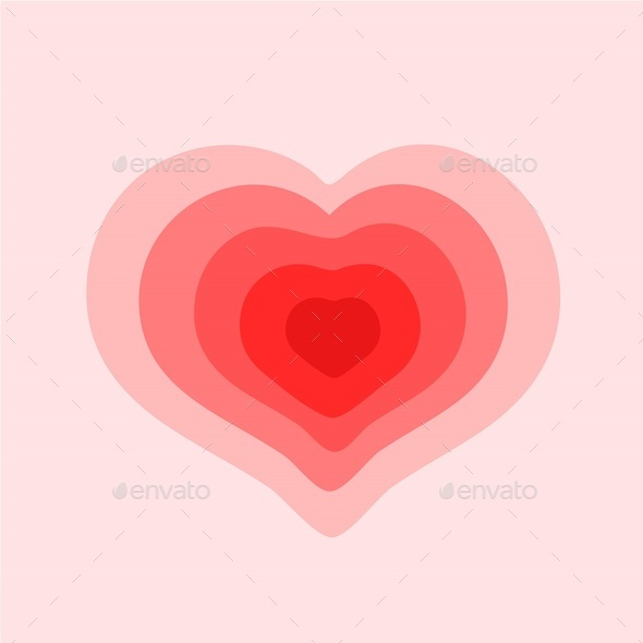 Red and pink multicolor heart on a pink background, vector - Stock Photo - Images
