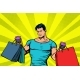 Strong Muscular Man with Bags on Sale