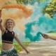 Young Girls Have Fun with Colored Smoke and Jump Outdoors - VideoHive Item for Sale