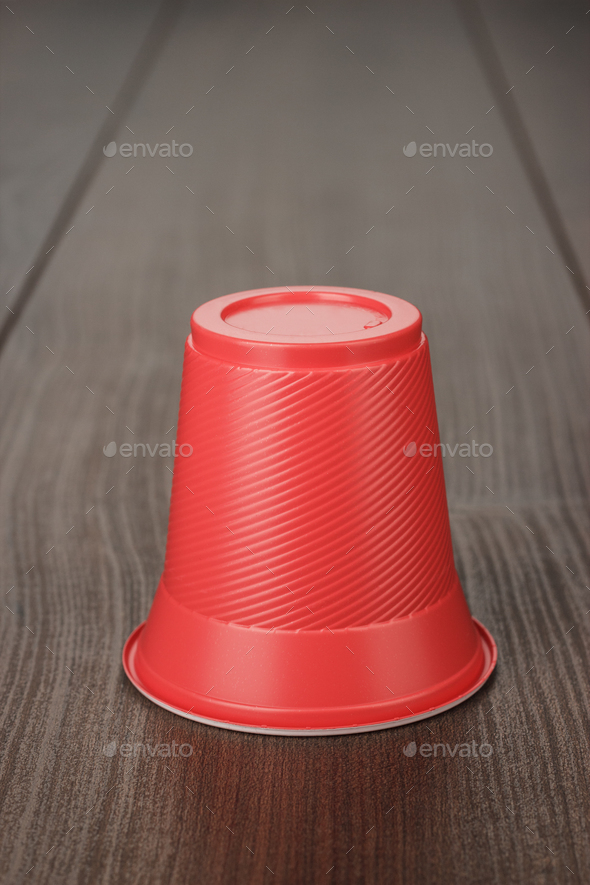 Red Plastic Cup On The Table  - Stock Photo - Images