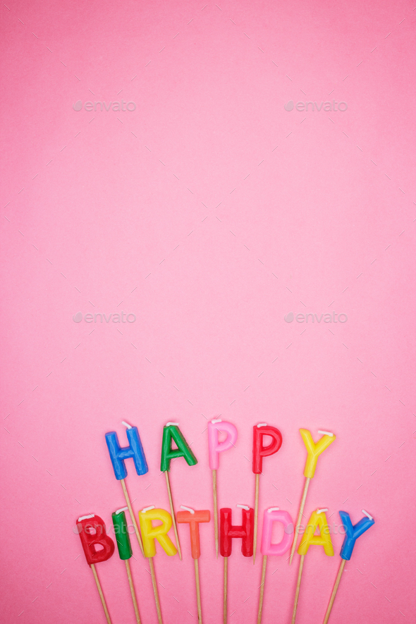 Letter-shaped Happy Birthday Candles  - Stock Photo - Images
