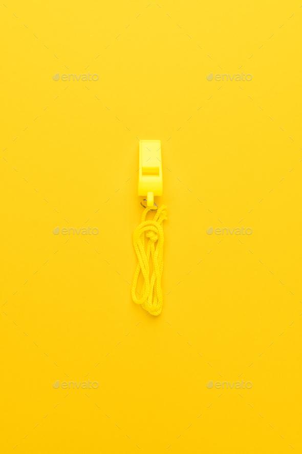 Plastic Yellow Whistle  - Stock Photo - Images