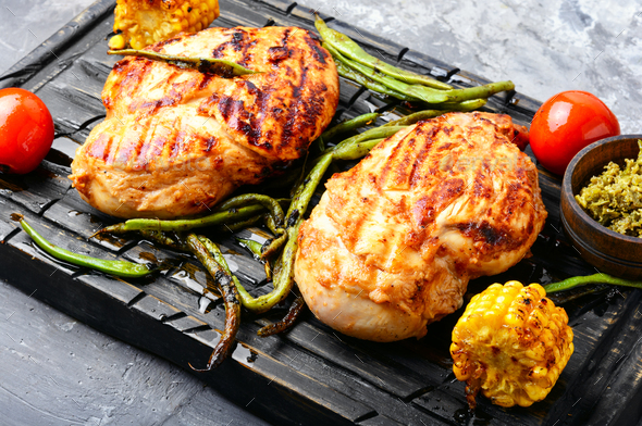 Roast chicken breast with lime - Stock Photo - Images