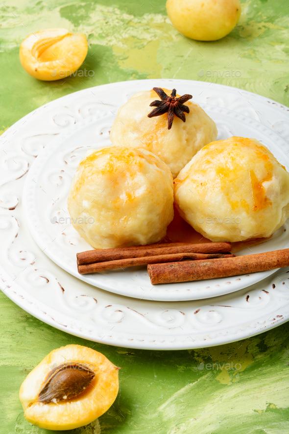 Fruit dumplings with apricot - Stock Photo - Images