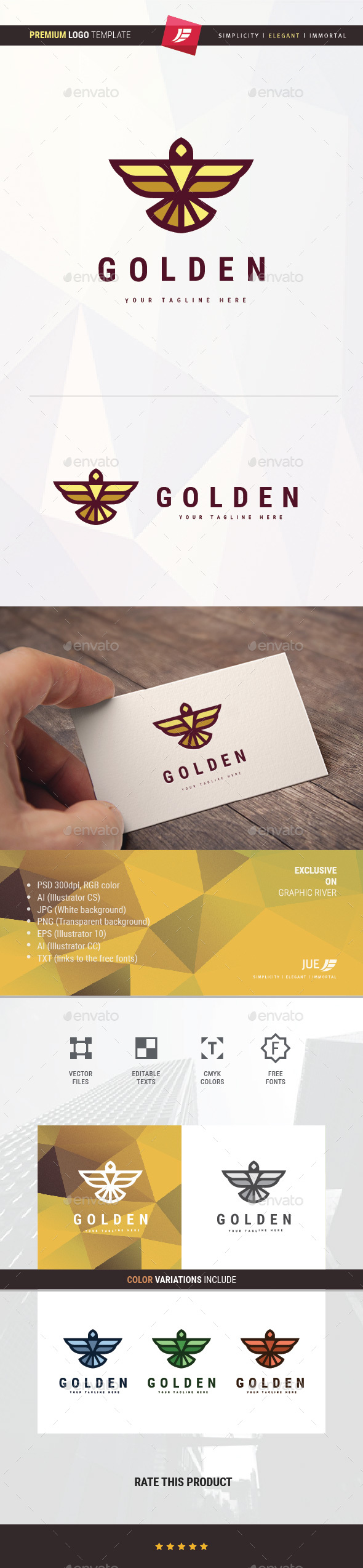 Golden Eagle Logo - Animals Logo Templates