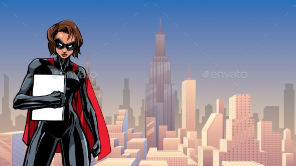 Superheroine Holding Book in City - People Characters