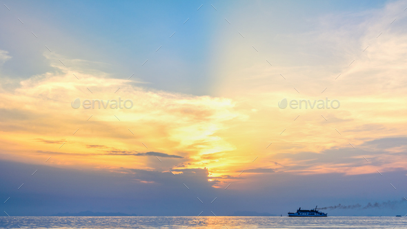 Travel boat on the sea at sunset - Stock Photo - Images