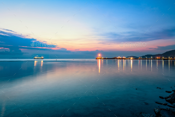 Sky twilight at Nathon Pier in Ko Samui - Stock Photo - Images