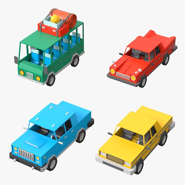 Cartoon Cars Low Poly Set - 3DOcean Item for Sale