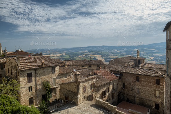 View of Todi, in Umbria - Stock Photo - Images