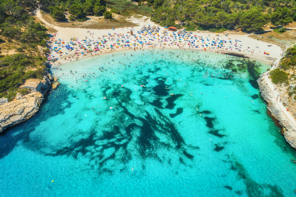Aerial view of sea with azure water and sandy beach - Stock Photo - Images