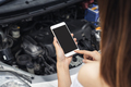 Young woman with broken down car using smartphone for assistance - PhotoDune Item for Sale