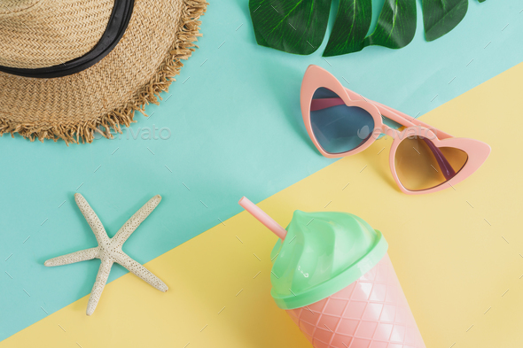 Women's accessories items on pastel colors background, Summer vacation concept - Stock Photo - Images