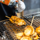 Chef using flame torch burn on Japanese scallop and Japanese shellfish - PhotoDune Item for Sale