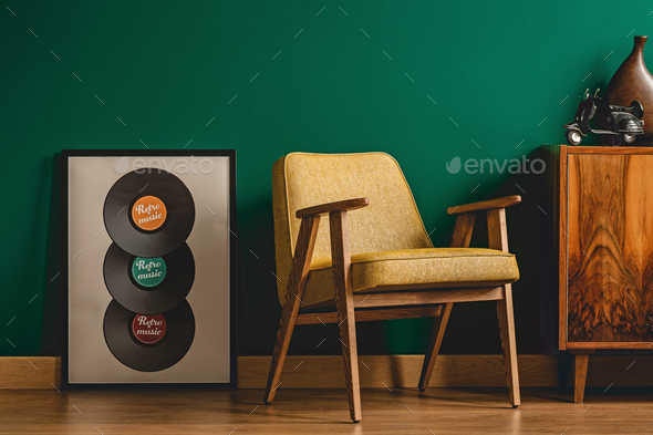 Yellow chair in vintage interior - Stock Photo - Images