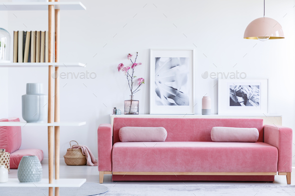 Real photo of a pink couch with pillows in front of a shelf with - Stock Photo - Images
